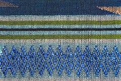 Cierre peruano de la superficie de la manta del estilo de la artesanía de seda tailandesa colorida para arriba Fotografía de archivo
