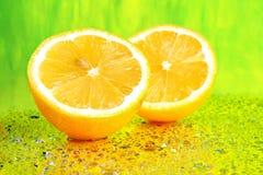 Cierre rebanado del limón para arriba Foto de archivo