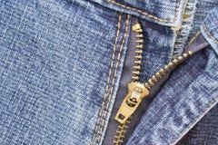 Cierre relámpago del dril de algodón Fotografía de archivo libre de regalías