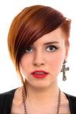 Cierre rojo hermoso de la mujer del pelo encima del retrato del estilo Imágenes de archivo libres de regalías