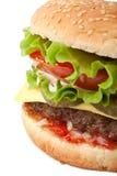 Cierre sabroso grande del cheeseburger para arriba Fotos de archivo