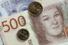 Cierre sueco de la moneda para arriba Imágenes de archivo libres de regalías