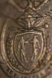 Cierre surafricano encima de la moneda, símbolo de Suráfrica fotos de archivo