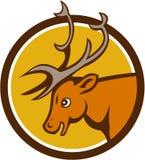 Ciervos Buck Head Circle Cartoon del macho stock de ilustración