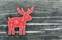 Ciervos comunes con los copos de nieve y las nieves acumulada por la ventisca Imagen de archivo libre de regalías