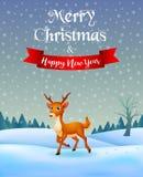 Ciervos con Feliz Navidad del fondo ilustración del vector