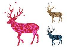 Ciervos con los pájaros, vector de la Navidad Foto de archivo libre de regalías