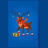 Ciervos con una guirnalda de la Navidad Fotos de archivo