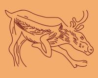 Ciervos corrientes del petroglifo Fotos de archivo libres de regalías