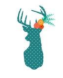 Ciervos de Boho con las flores Imagen de archivo libre de regalías