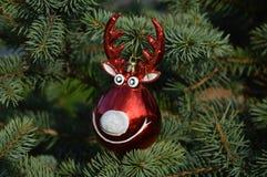 Ciervos de la bola de la decoración para el objeto del árbol de navidad aislado Fotos de archivo