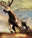Ciervos de la caza del tigre ilustración del vector