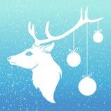 Ciervos de la Navidad con las bolas de Navidad en su cuerno con Fotografía de archivo libre de regalías