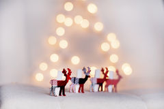 Ciervos de la Navidad en un fondo blanco del bokeh Imagen de archivo libre de regalías