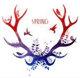 Ciervos de la primavera Silueta de la acuarela Ilustración del vector Fotos de archivo