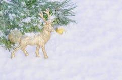 Ciervos de oro en la nieve blanca Foto de archivo libre de regalías