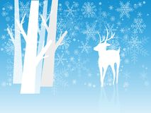 Ciervos del invierno de la Navidad en lugares nevosos stock de ilustración