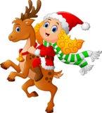 Ciervos del paseo de la niña en la Navidad libre illustration
