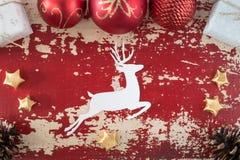 Ciervos del vintage del fondo de la tarjeta del Año Nuevo de la Navidad Fotografía de archivo