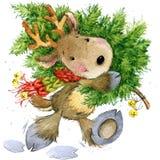 Ciervos divertidos Santa Claus Ilustración de la acuarela Foto de archivo