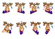 Ciervos Emoji, emociones de los ciervos, sistema de los ciervos de Emoji, humor de las etiquetas engomadas libre illustration