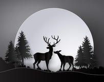 Ciervos en bosque con la Luna Llena stock de ilustración
