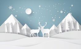 Ciervos en bosque con nieve stock de ilustración