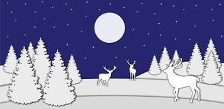 Ciervos en el bosque de la noche ilustración del vector