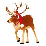 Ciervos en un casquillo divertido del rojo del ` s de Papá Noel Tarjeta de la Navidad y del Año Nuevo Ilustración del vector stock de ilustración