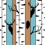 Ciervos en un modelo inconsútil del bosque del abedul con las siluetas animales ilustración del vector
