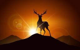 Ciervos en una montaña stock de ilustración