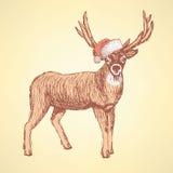 Ciervos lindos del bosquejo en estilo del vintage libre illustration