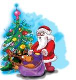 Ciervos, Papá Noel y árbol de navidad Fotos de archivo libres de regalías
