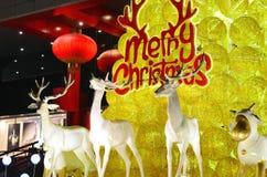 Ciervos y árbol de la Navidad Fotografía de archivo