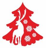 Ciervos y árbol de navidad foto de archivo