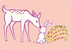 Ciervos y conejo Fotografía de archivo libre de regalías