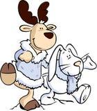 Ciervos y conejo Foto de archivo libre de regalías