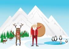 Ciervos y Papá Noel Tarjeta de Navidad 2016 Fotografía de archivo libre de regalías