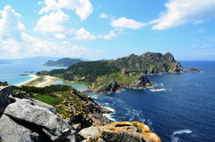 The Cies Islands (Ria de Vigo, Galicia). The Cíes Islands, in the mouth of the Ría de Vigo (Galicia, Spain Stock Photos