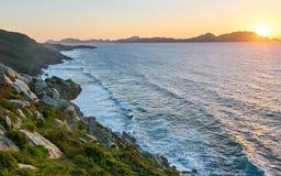Cies Islands at sunset. Stock Photo