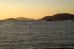 Cies islands. View of the Cies Islands from the Galician coast Stock Photo