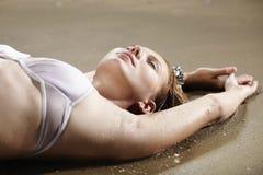 Ciesząca się piasek plaża Fotografia Stock