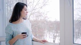Cieszący się weekend, urocza kobieta pije gorącą kawową pozycję otwartym okno zbiory wideo