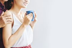 Cieszyć się filiżanki kawę herbata zdjęcia royalty free