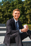 Cieszyć się jego kawową przerwę Obrazy Royalty Free