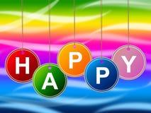 Cieszy się balony Reprezentuje Szczęśliwego pozytyw I Radosny Obrazy Stock