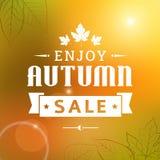 Cieszy się jesieni sprzedaży rocznika typografii plakat Obraz Stock