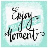 Cieszy się Każdy moment Nowożytna szczotkarska kaligrafia Ręcznie pisany atramentu literowanie projekt rysująca elementów ręka Mo fotografia royalty free