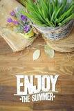 Cieszy się lato wycena kartę z łąkowymi kwiatami Zdjęcie Stock