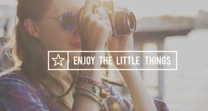 Cieszy się Małego rzeczy przyjemności szczęścia radości pojęcie fotografia stock